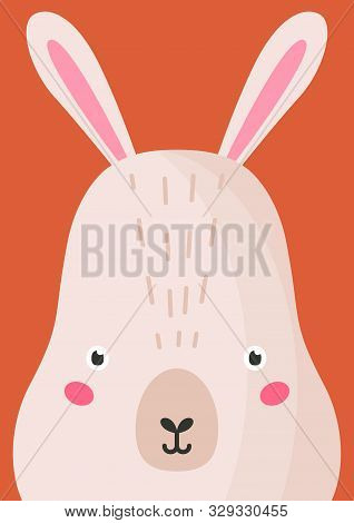 Adorable Hare Snout Flat Vector Illustration. Cute Wildlife Forest Bunny Muzzle Cartoon Colorful Bac