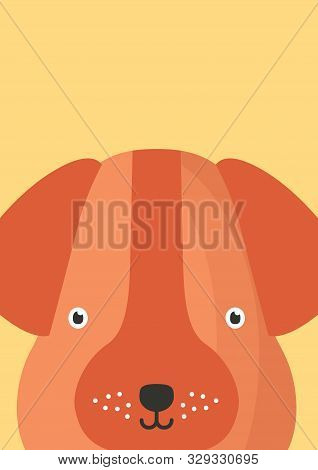 Cute Dog Snout Flat Vector Illustration. Adorable Pet Face Background In Cartoon Style. Funny Close