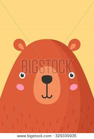 Cute Bear Snout Flat Vector Illustration. Adorable Wildlife Forest Animal Muzzle Cartoon Colorful Ba