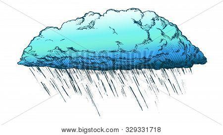 Rainy Cloud And Falling Water Drop Retro Vector. Autumn Season Sky Element Downpour Cloud. Cloudscap