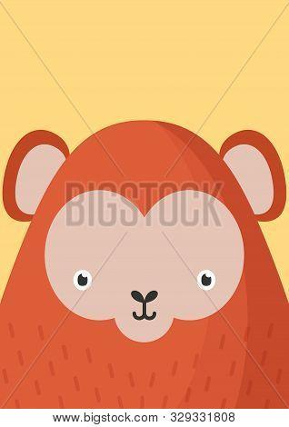 Cute Monkey Snout Flat Vector Illustration. Adorable Wildlife Jungle Animal Muzzle Cartoon Colorful
