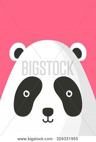 Adorable Panda Bear Snout Flat Vector Illustration. Cute Wildlife Jungle Animal Muzzle Cartoon Color