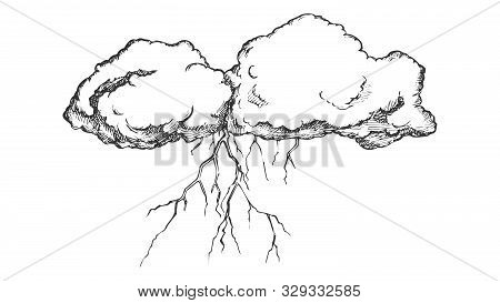 Storm Cloud With Flash Lightning Monochrome Vector. Sky Element Cloud. Cloudscape And Weather Meteor