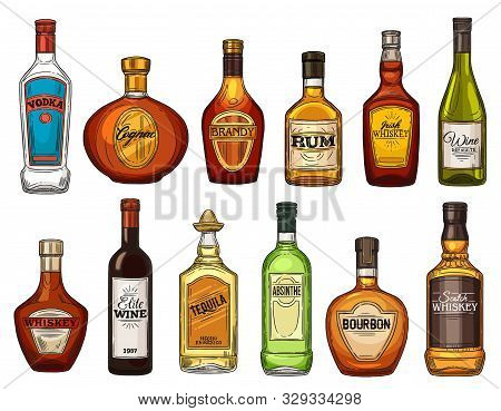 Alcohol Drink Bottles, Bar Menu, Beverage Icons. Vector Isolated Bottles Of Quality Wine, Rum And Br