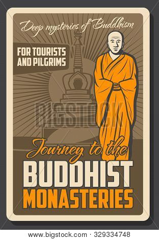 Vector Vintage Retro Poster Of Buddhist Monk And Buddha Temple Shrine, Meditation School And Dharma