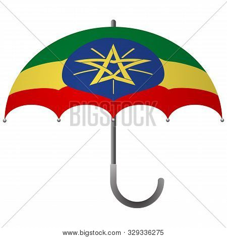 Ethiopia Flag Umbrella. Social Security Concept. National Flag Of Ethiopia Vector Illustration