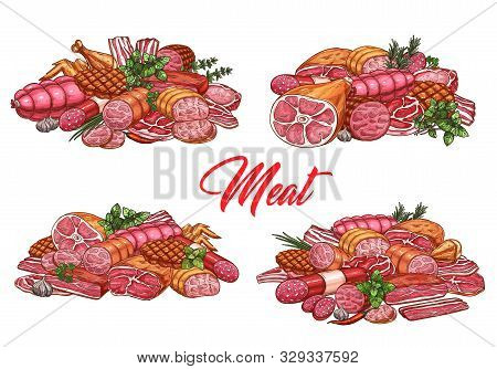 Meat Food And Sausages, Butchery Shop And Farmer Market Gourmet Products Vector Sketch. Butcher Pork