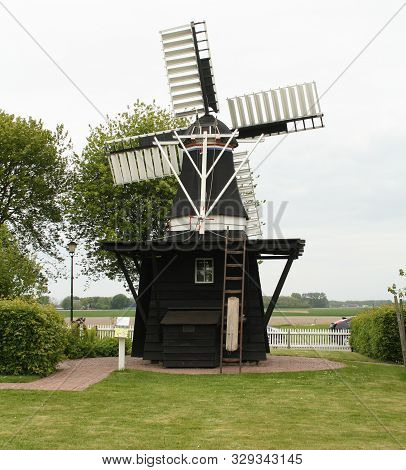 Warfum. May-16-2019. The David Mill From 1890 In The Open Air Museum Het Hoogeland In Warfum. The Ne