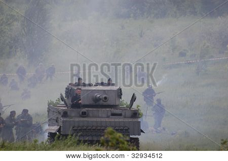KIEV, UKRAINE -MAY 13:Red Star history club.German tank (replica) during historical reenactment of WWII, may 13, 2012 in Kiev, Ukraine