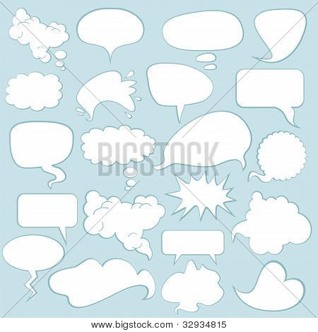 Various comics speech balloons and bubbles set poster
