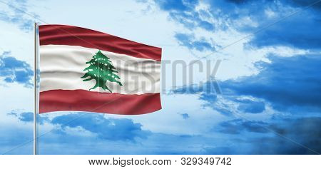 Lebanon National Day. Lebanese Flag With Stripes, Cedar And National Colors. Sky Background Illustra