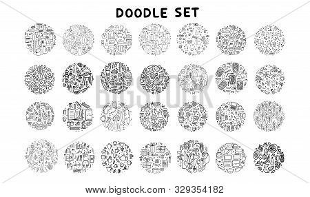 Set Of Doodles. Hand Drawn Icons. Big Collection Of Round Badges With Different Objects. Travel, Lif