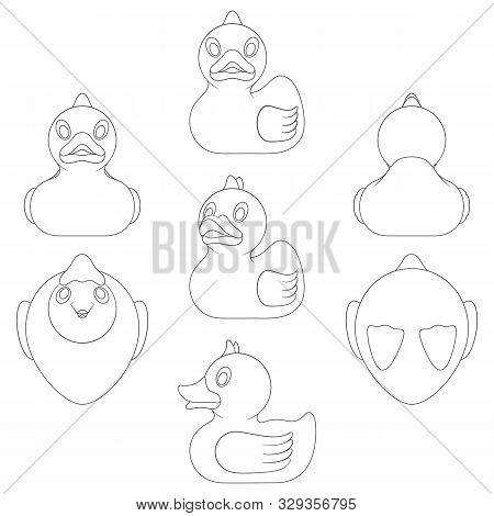 Set Of Black And White Images With A Toy Duck In Different Angles. Isolated Vector Objects On A Whit