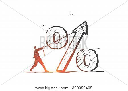 Interest Rate, Economy, Bank Loan Percentage Concept Sketch. Financier, Trader, Investor Character,