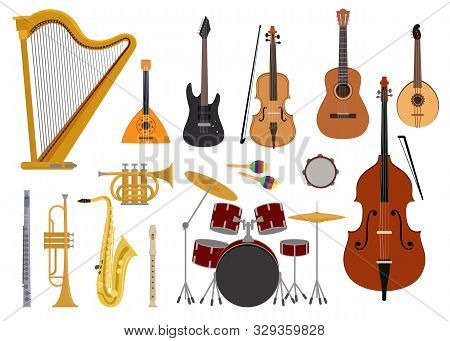Musical Instruments Vector Music Concert With Acoustic Guitar Balalaika And Musicians Violin Harp Il