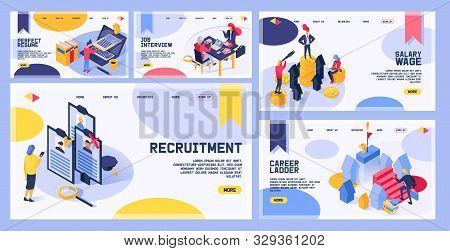 Recruitment Vector Web Page Hiring Job Interviewed People On Business Interview Meeting And Intervie