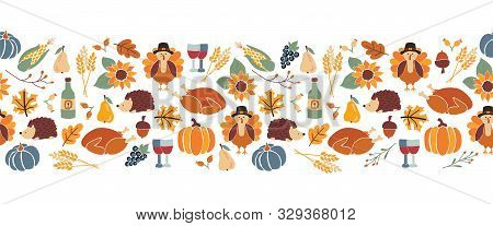 Vector Border Thanksgiving. Seamless Autumn Food Roast Turkey Corn Wine Pumpkin Family Dinner Greeti