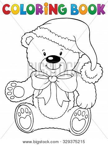 Coloring Book Christmas Teddy Bear Topic - Eps10 Vector Picture Illustration.