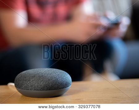 Smart Home Speaker Voice Activated With Gamer Playing Console In Living Room