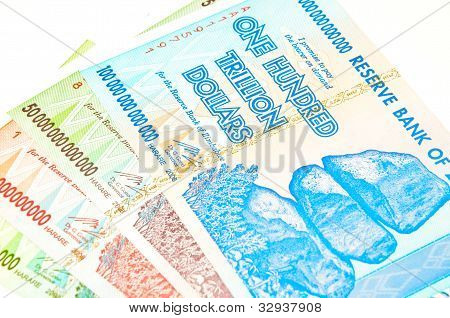 Zimbabwean trillion dollar notes