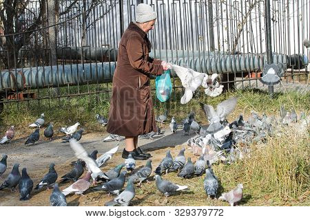 Magadan, Russia - October 17, 2019. Old Lady Feeding Pigeons On The Street. Kind Woman Giving Food T