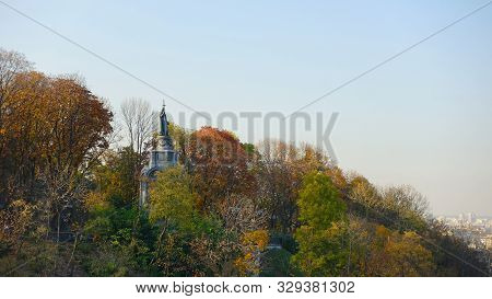 Monument To Vladimir The Great On Vladimir Hill In Kiev In The Fall