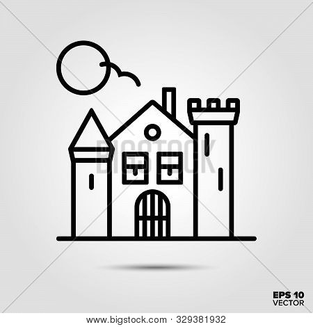 Haunted House Outline Style Icon. Fall Season And Halloween Celebration Symbol. Spooky Cartoon Vecto