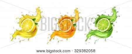 Juice Splash Lemon, Orange, Lime Set. Citrus Splashig Fresh Collection Realistic Vector