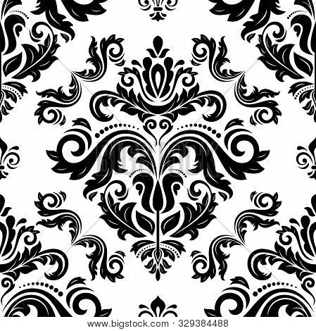 Orient Vector Classic Pattern. Seamless Abstract Background With Vintage Elements. Orient Black And