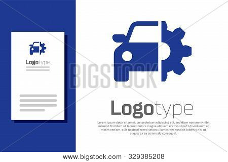 Blue Car Service Icon Isolated On White Background. Auto Mechanic Service. Mechanic Service. Repair