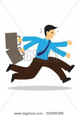 Stressed Anxious Businessman In A Hurry Running. Concept Of Urgency Or Deadline. Flat Isolated Vecto