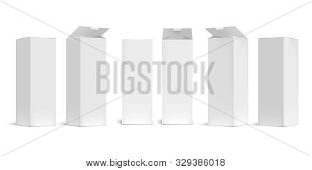 High Box Mockup. White Open Cardboard Packaging Long Boxes, Rectangular Pack With Realistic Shadow V