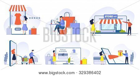 Online Shopping, Mobile Shopping, Internet Store And Shop Website On Smartphone Vector Illustrations