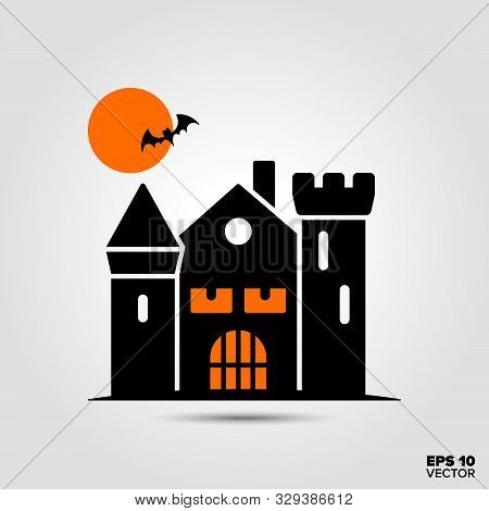 Haunted House, Moon And Bat Icon. Fall Season And Halloween Celebration Symbol. Spooky Cartoon Vecto