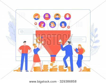 Lead generation. Increasing conversion, sales funnel strategy and generating or attracting new loyal leads vector illustration. Online monetization, market growth. Inbound marketing model, networking poster