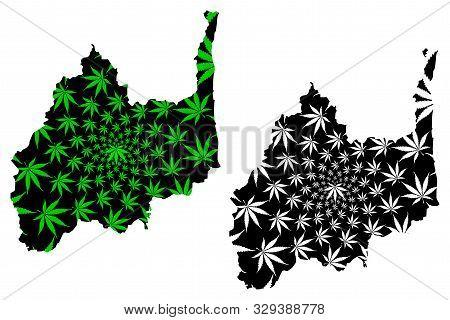 Lopburi Province (kingdom Of Thailand, Siam, Provinces Of Thailand) Map Is Designed Cannabis Leaf Gr
