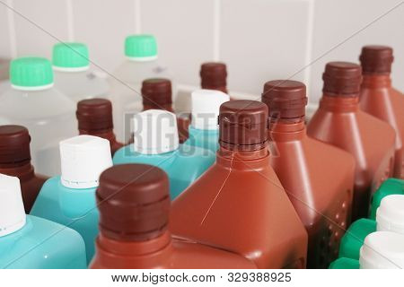Bottles With Cleaning And Disinfection Solution Or Sanitizer Or Disinfectant