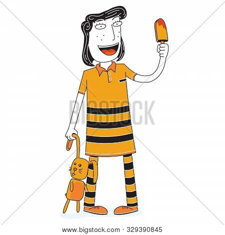 Illustration Of A Girl With A Doll Eats An Ice Cream