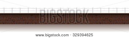 Long Brick Wall With Barbwire. Seamless Extendable Isolated Vector Illustration On White Background.