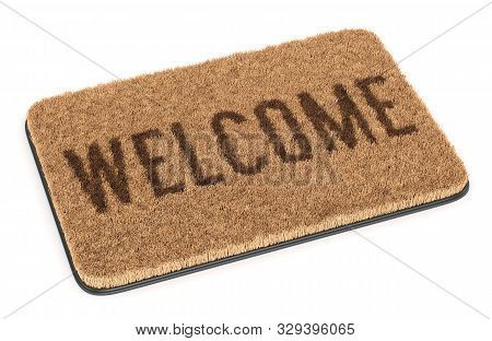 Brown Welcome Coir Doormat Isolated On White