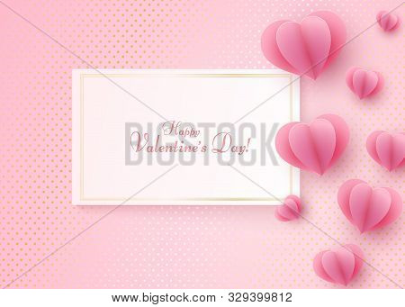 Paper Heart On A Pink Luxury Background Text Happy Valentine Day In A Golden Luxury Frame Heart Elem