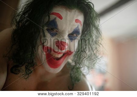 Dnipro, Ukraine - October 22, 2019: Portrait Of The Cosplayer In The Image Of A Crazy Clown Arthur F