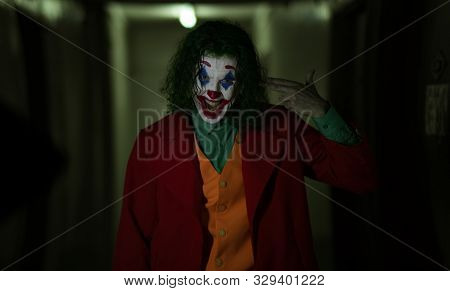 Dnipro, Ukraine - October 22, 2019: Cosplayer In The Image Of A Crazy Clown Arthur Fleck From The Ps