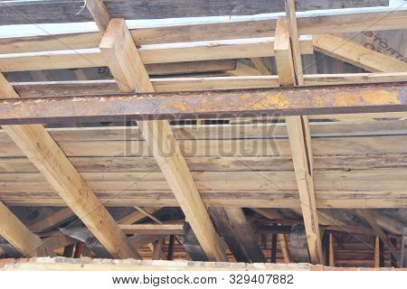 Construction Of A Wooden House Rafters Lathing Attic