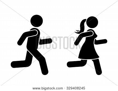Stick Figure Man And Woman Running Icon Vector Pictogram. Boy And Girl Competition Sign Silhouette O
