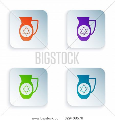 Color Decanter With Star Of David Icon Isolated On White Background. Pottery Jug. Organic Product In