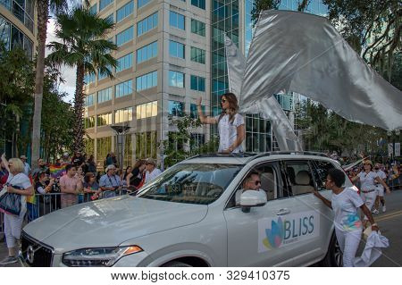 Orlando, Florida. October 12, 2019. Nice Woman With Angel Wings In Come Out With Pride Orlando Parad