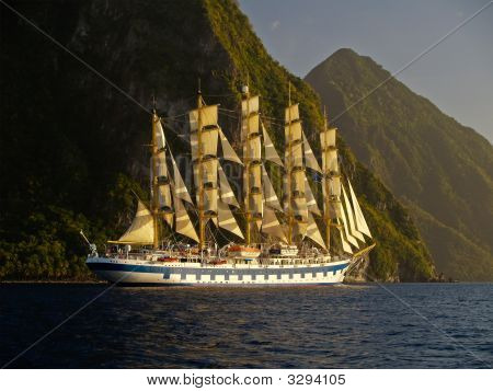 Sail Ship Near Mountain Island