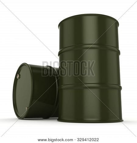 3D rendering several army khaki barrels with the inscription poster