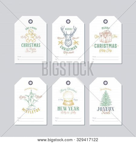 Christmas And New Year Ready-to-use Pastel Colour Gift Tags Or Labels Templates Set. Hand Drawn Rein